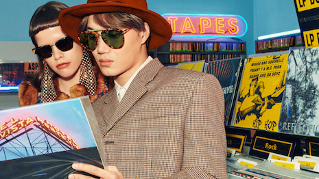 South Korean performer Kai in the Gucci spring/summer 2020 eyewear ad campaign that pays homage to the Eighties teen hangout, the record store. Image courtesy of Gucci