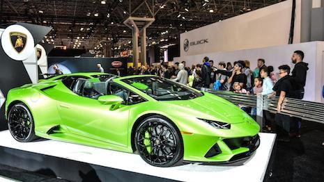 Lamborgini stand at the 2019 New York Auto Show. Image credit: New York International Auto Show