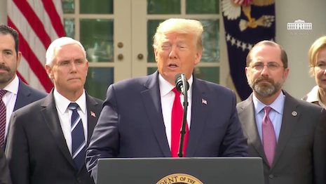 President Donald J. Trump declaring a state of national emergency in the United States to prevent the further spread of the COVID-19 coronavirus. Image credit: The White House