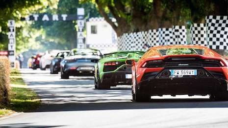 A Lamborghini heading to the startline at the Goodwood Festival of Speed in England. Image credit: Goodwood