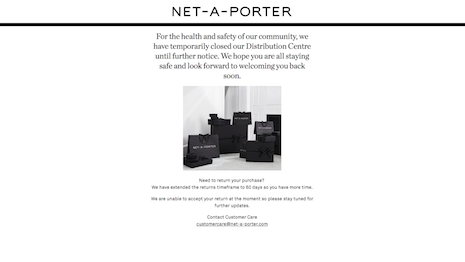 Net-A-Porter's U.S. site is down to a single page announcing the closure of its distribution center and its inability to accept returns. Image credit: Net-A-Porter
