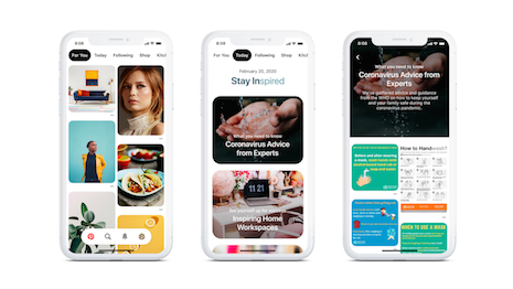 Pinterest advanced the launch of its Today tab. Image credit: Pinterest