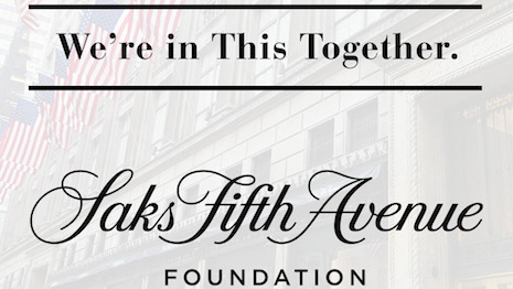 The Saks Fifth Avenue Foundation is donating funds to select charities that will offer mental health help as New Yorkers, particular school-goers, are traumatized by the COVID-19 outbreak. Image credit: Saks Fifth Avenue Foundation