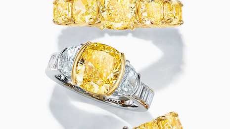 Designed by chief artistic officer Reed Krakoff, this assortment of rings from the Extraordinary Tiffany: High Jewelry Collection Spring 2020 honors Tiffany's longstanding tradition of incorporating yellow diamonds in creative jewelry design. Image credit: Tiffany & Co.