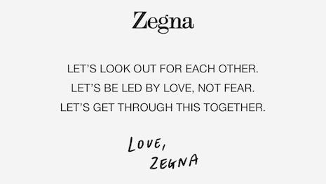 Zegna's message of solidarity amidst the COVID-19 coronavirus crisis. Image credit: Ermenegildo Zegna