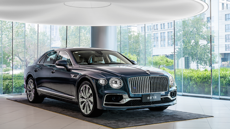Bentley Motors has reopened its China showrooms to start selling the third edition of its Flying Spur grand touring sedan. Image courtesy of Bentley Motors