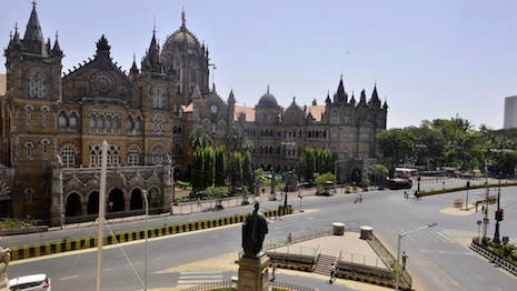 Typically a bustling rail hub in Mumbai's business district, the Chhatrapati Shivaji Terminus (formerly Victoria Terminus) wears a deserted look as the COVID-19 lockdown continues in India. Image credit: India Today/Milind Shelte