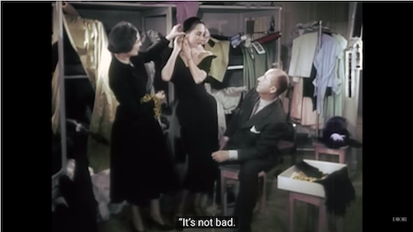 """Christian Dior at work on his autumn:winter 1949 collection, as seen in the documentary of the same year titled """"Haute Couture."""" Image credit: Christian Dior"""