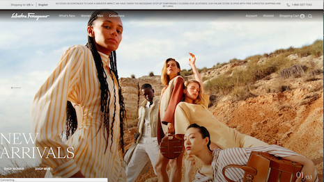 Salvatore Ferragamo has taken the retail downtown to relaunch its ecommerce Web site and make it more visually appealing with vivid photos of models and product. Image credit: Salvatore Ferragamo