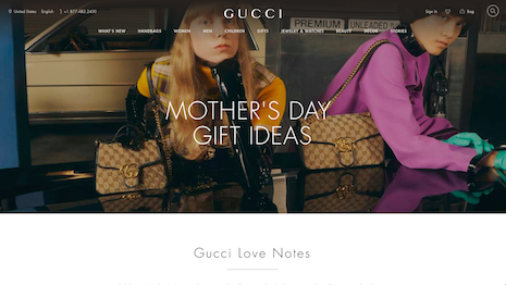 Gucci has rolled out a new digital gifting service in time for Mother's Day. Image credit: Gucci
