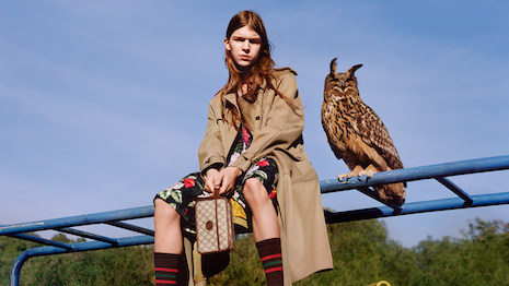 Gucci's pre-fall 2020 ad campaign is placed in a wild setting with models and animals co-starring in an ode to childhood innocence. Image courtesy of Gucci