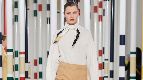 Hermès, like its peers Louis Vuitton, Gucci and Chanel, has not fallen into the transaction luxury business model trap. Seen: Hermès looks from the fall-winter 2020 collection. Image credit: Hermès
