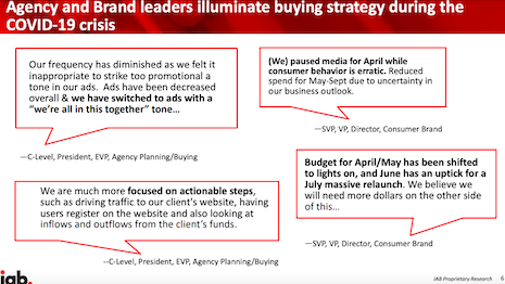 IAB study on agency and brand leaders' buying strategy during the COVID-19 crisis. Source: IAB