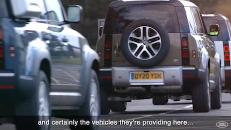 Jaguar Land Rover vehicles deployed for aiding emergency responders. Image credit: Jaguar Land Rover