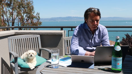 James Henderson, CEO of Exclusive Resorts, is into back-to-back video conferencing as he leads his teams from his Marin County, Northern California home