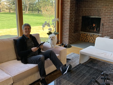 Larry Korman, president/Co-CEO of AKA Hotel Residences, works out of his Louis Kahn-designed home in Philadelphia, sending snaps of his dog to team members to boost positivity