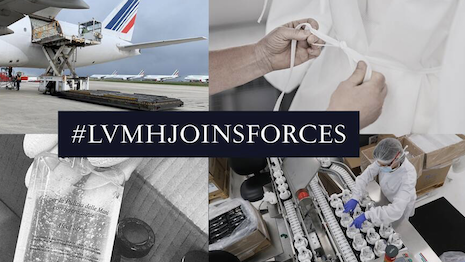 LVMH Joins Forces campaign shows how the luxury group is helping out during the coronavirus pandemic. Image credit: LVMH
