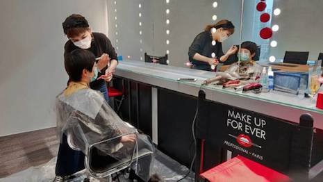 LVMH brand Make Up For Ever opened a pop-up hair salon at its offices for employees unable to get their hair done elsewhere. Image credit: LVMH