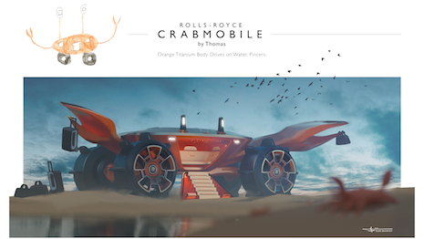World's your oyster is what the British automaker is saying to young aspiring auto designers: The Rolls-Royce Crabmobile. Image courtesy of Rolls-Royce Motor Cars