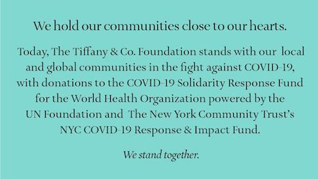The Tiffany & Co. Foundation is recognizing the needs of an international organization and a local charity as both stretch resources to fight the after-effects of COVID-19. Image credit: Tiffany & Co. Foundation