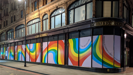 Harrods, with its colorful window display, joined a worldwide movement uplifting local communities with rainbows of hope. Image credit: Harrods