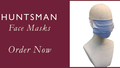 Huntsman face masks will match the shirts that the Savile Row tailor makes for its upscale clientele. Image credit: Huntsman & Sons