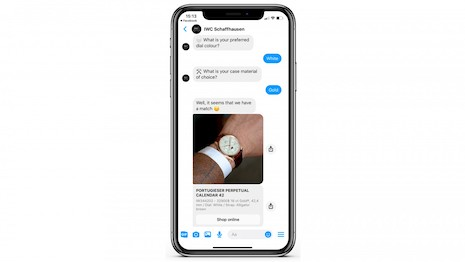 The IWC chatbot by Facebook Messenger is another way to simulate online the in-store customer interaction with a salesperson. Image courtesy of IWC Schaffhausen