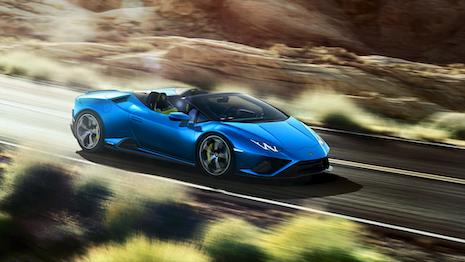 The Lamborghini Huracan EVO RWD Spyder launched online via augmented reality. Image courtesy of Lamborghini