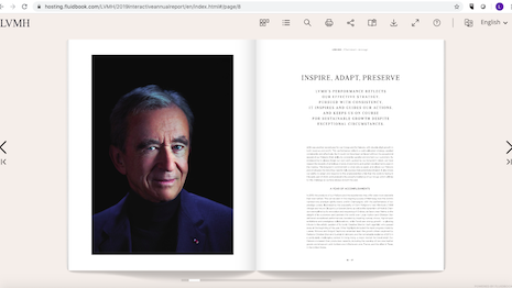 LVMH chairman/CEO Bernard Arnault stresses the group's resilience and adherence to standards in his 2019 annual report message to shareholders. Image credit: LVMH