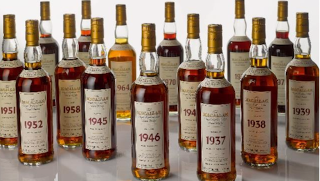 The Macallan Fine & Rare Collection from Wing Hop Fung sold at a Sotheby's online auction for $890,320. Image courtesy of Sotheby's