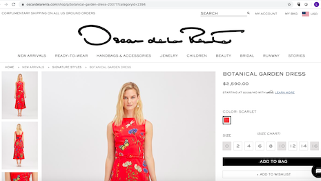 Allowing customers to pay in installments, especially during the post-COVID-19 lockdowns, will make Oscar de la Renta's fashion merchandise more appealing to millennials and Gen Z. Image credit: Oscar de la Renta