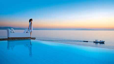 Petasos Beach Resort in Mykonos, Greece. Image courtesy of Small Luxury Hotels of the World