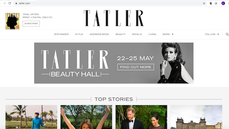 Tatler Beauty Hall, a virtual event featuring beauty and cosmetics brands, being promoted on Tatler.com. Image credit: Tatler