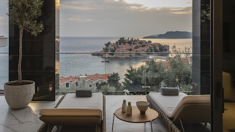 Villa Geba in Sveti Stefan, Montenegro, overlooking the Adriatic Sea. Image courtesy of Small Luxury Hotels of the World