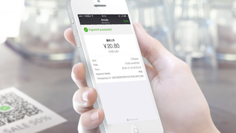 WeChat Pay allows consumers to make payments without exchanging cash. Image credit: Tencent