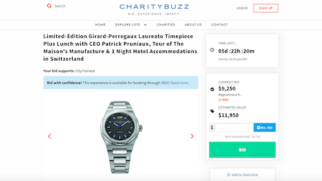 Girard-Perregaux has partnered with watch retailer Wempe to auction off a limited-edition timepiece whose proceeds will go to City Harvest, a local charity that supplies food to hungry New Yorkers with few means to have meals at home. Image credit: Girard-Perregaux, Wempe and Charity Buzz
