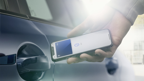 The BMW Digital Key with the Apple iPhone is yet another step toward integration of mobile services with automotive technology. Image courtesy of BMW