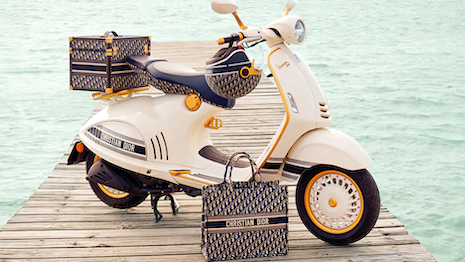 The Christian Dior Vespa 946 scooter with accessories will be available for purchase in spring 2021. Image courtesy of Vespa
