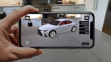 The Lexus AR Play app is an augmented reality immersion into the exterior and interior features of the newly launched 2021 Lexus IS 350 sport sedan. Image courtesy of Lexus