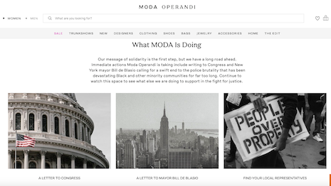 Online retailer Moda Operandi has taken a firm stand on discrimination against African Americans, writing letters to New York's mayor and members of the U.S. Congress as well as to its mailing list of customers and prospects. Image credit: Moda Operandi