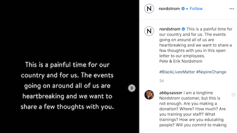 "Nordstrom's Instagram message on #BlackOutTuesday says: ""This is a painful time for our country."" Image credit: Nordstrom"
