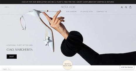 Prota Fiori Web site homepage. Image courtesy of Prota Fiori