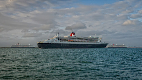 Cunard's Queen Mary 2 in the foreground with the Queen Elizabeth and Queen Victoria in the background. Image credit: Cunard