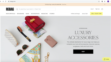 Out of the bag: Rebag Web site homepage with accessories listings. Image credit: Rebag