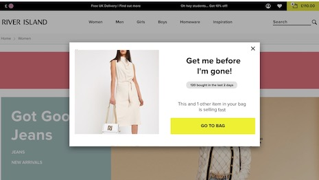 The COVID-19 lockdown has meant that digital has more say in conversion to in-store and ecommerce sales. Image courtesy of River Island, Qubit