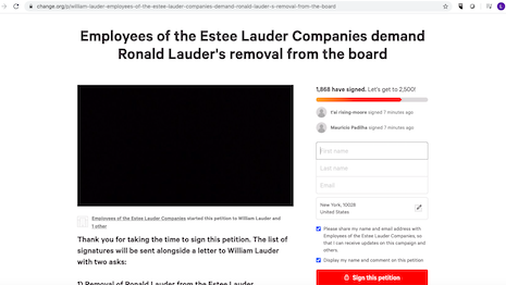 A Change.org petition is pressuring Estée Lauder Cos. to remove Ronald S. Lauder from the board of directors for his support to President Trump. Image credit: Change.org