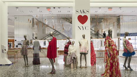 Saks Fifth Avenue New York main floor with hand sanitizer station at left. Image courtesy of Saks Fifth Avenue