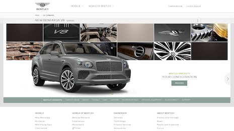 Bentley has extended its online configurator to its Bentayga SUV. Image courtesy of Bentley