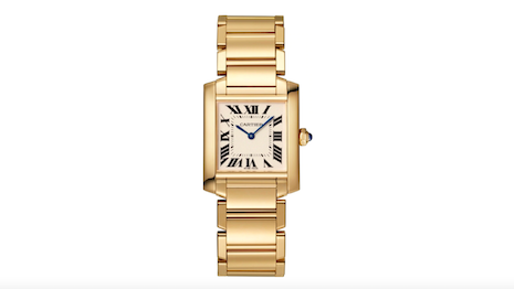 Cartier's Tank Française is an updated look from the legacy of the Tank wristwatch with a chain-link bracelet. It is instantly recognizable as the product of its manufacturer. Image credit: Cartier