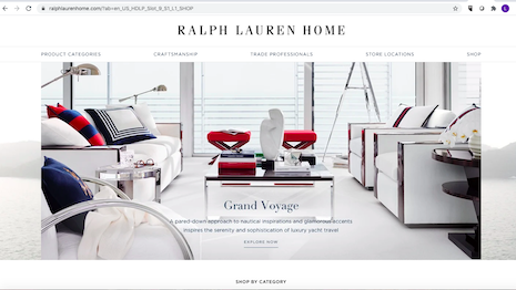 Ralph Lauren Corp. intends to pay more attention to its home furnishings business as the pandemic causes more consumers to stay and work from home. Image credit: Ralph Lauren Corp.